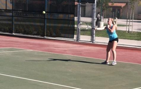 Freshman ranked number one on girls' varsity tennis team