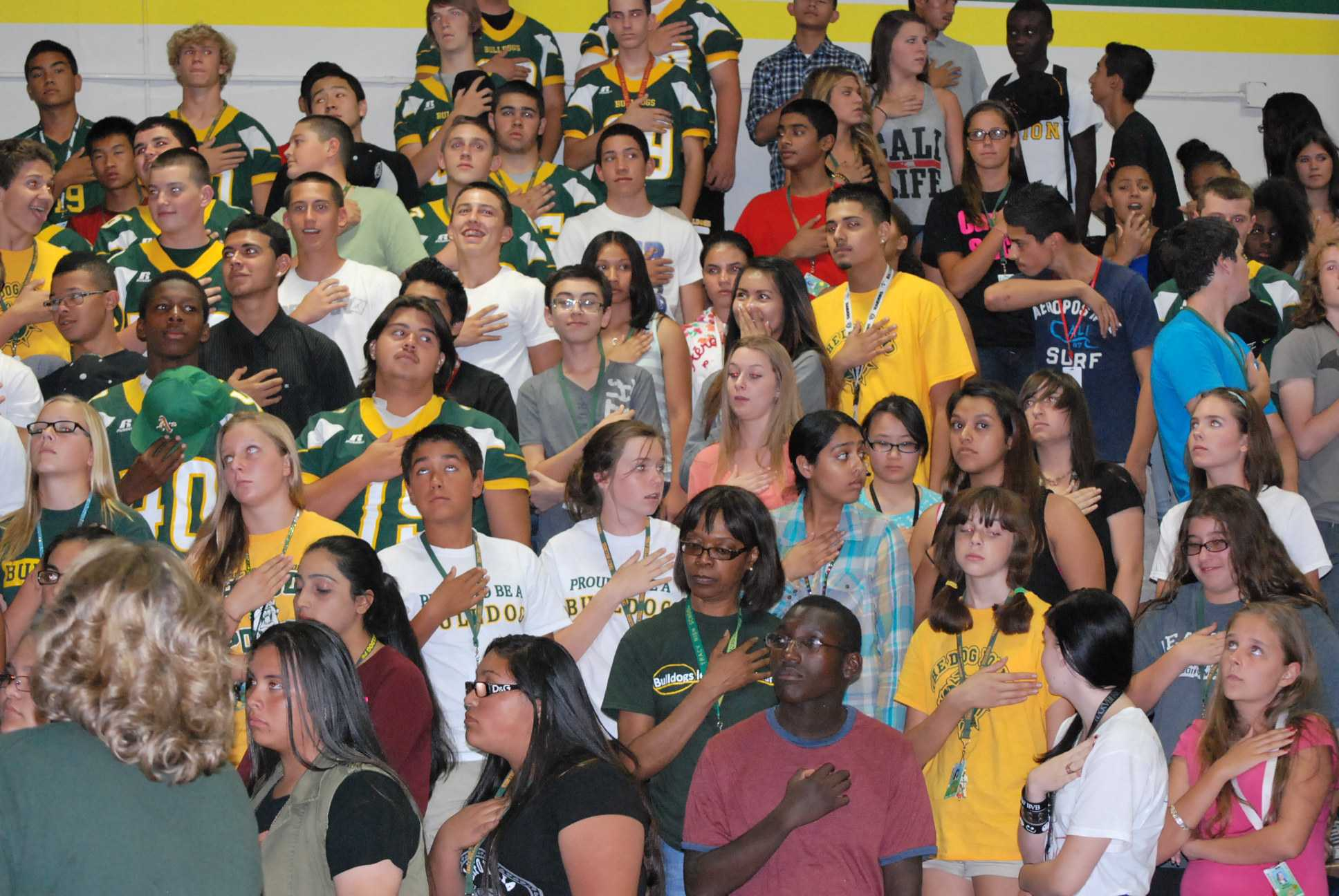Students enjoy the back to school rally.