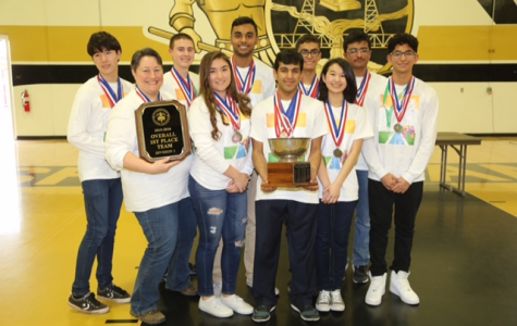 Academic Decathlon team poses for a photo after its victory at Lathrop High on Feb 6.