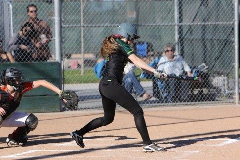 Senior Ali Davis swinging at a pitch against Kimball on March 1