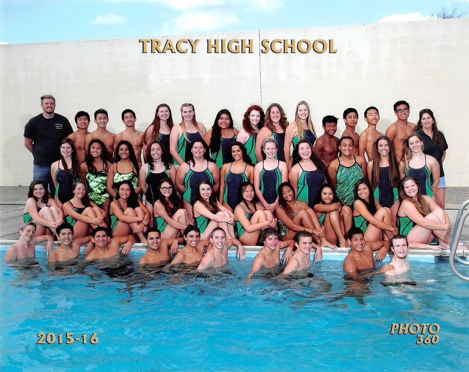 Tracy High swim team poses for a group team picture.