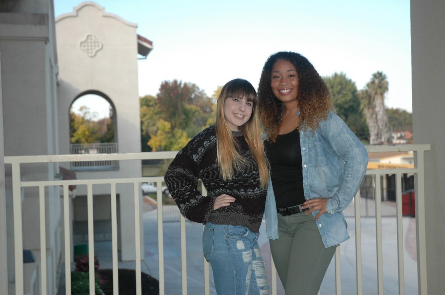 Julia Cross and Destiny Sandridge show off their fall fashion by posing in their cozy apparel. November 4, 2016.