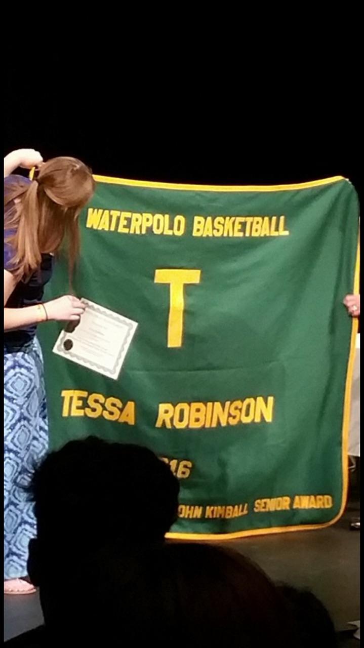 Robinson receiving her blanket