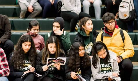 Part of the 2019-20 Tracy Science Olympiad team waits for the regional competition