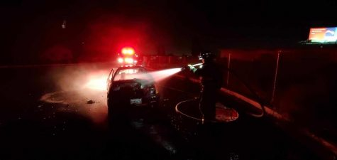 Silvinson in action putting out a fire in the Lathrop-Manteca area